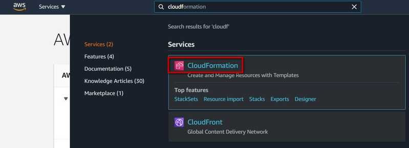 Navigating CloudFormation service in AWS Console using Search