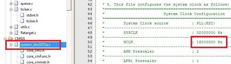 system_stm32xxxx.c Core clock
