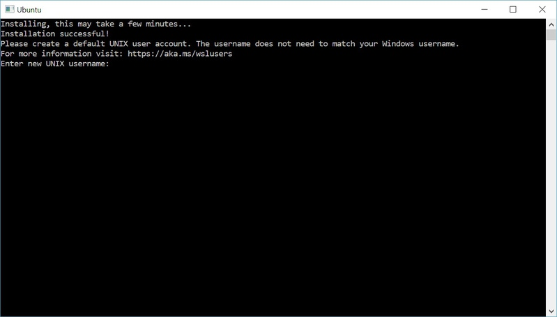 Completed installation of Ubuntu on WSL