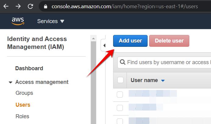 Press Add user button to create new user