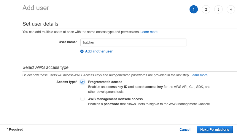 Setting up user name and selecting access type