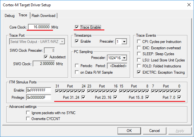Core clock frequency on Trace tab
