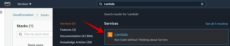 AWS Search to navigate lambda service
