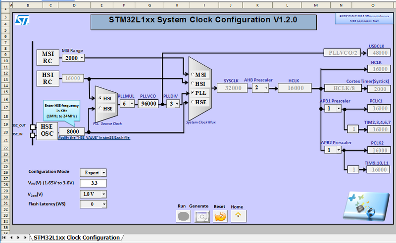 Frequency configuration for STM32
