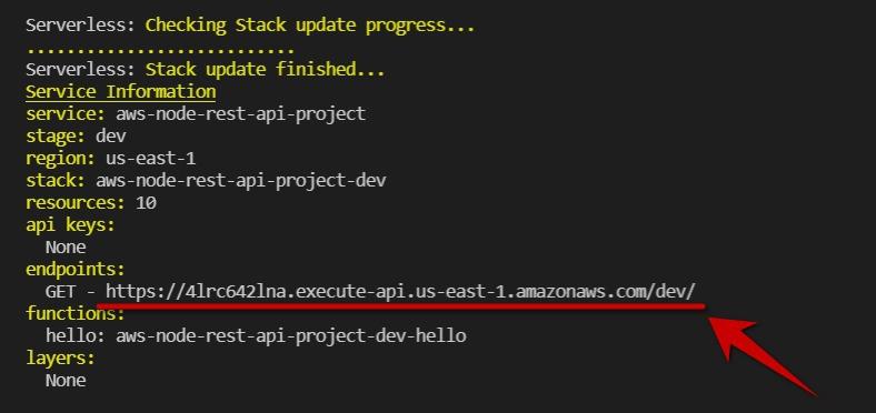 API endpoint in servereless output